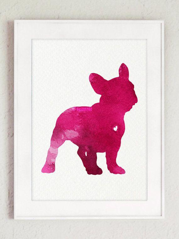 Franzosische Bulldogge Silhouette Rosa Aquarell Hund Kunstdruck