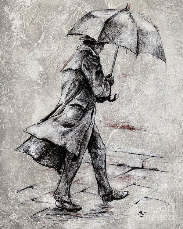 Rainy Day #07 Drawing Art Print by Emerico Imre To