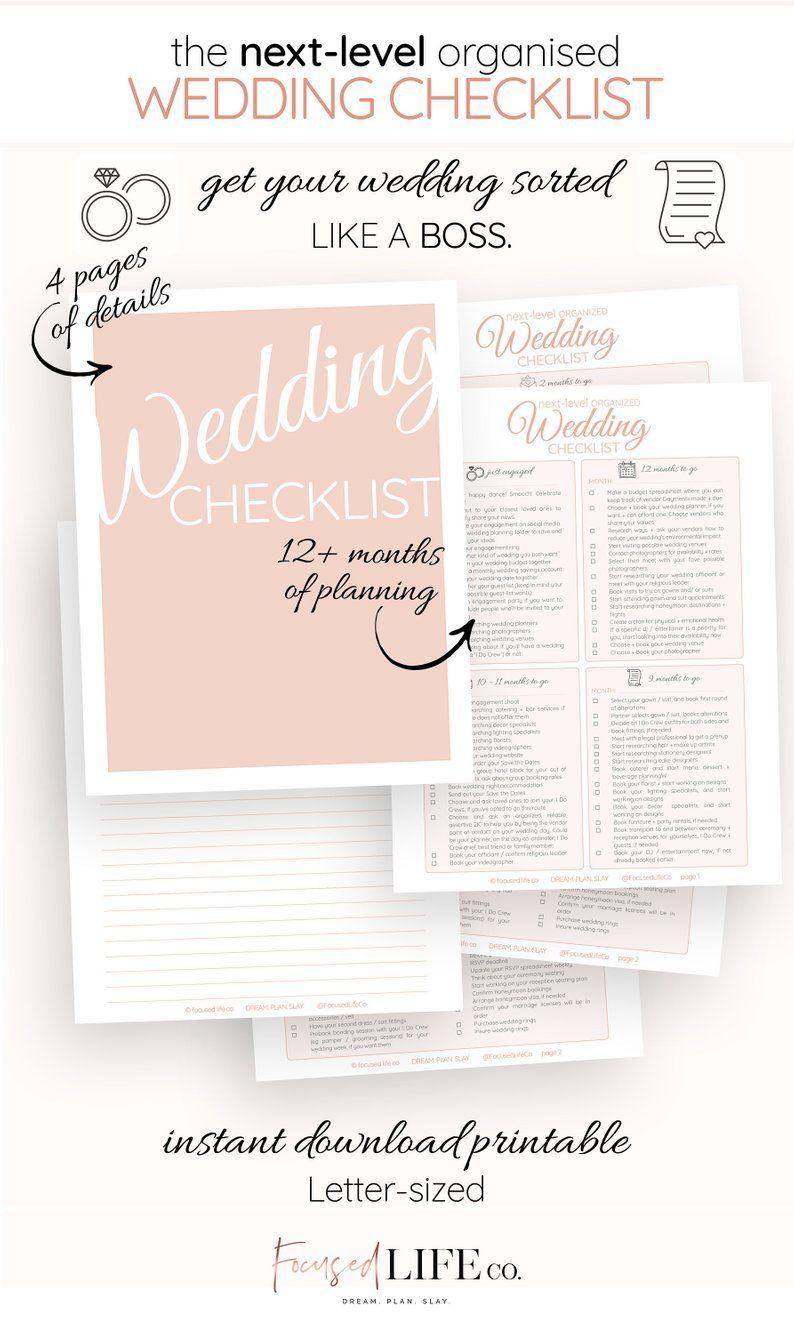 Detailed Wedding Checklist Printable Wedding To Do List