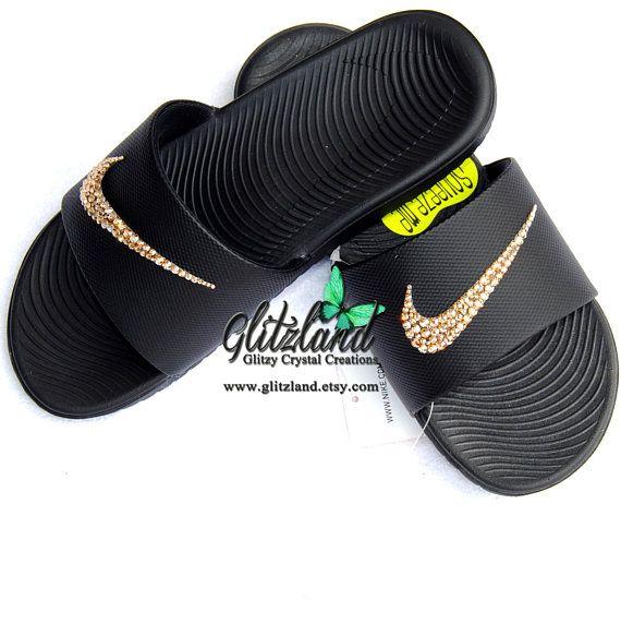 af5f817aa Swarovski Nike Kawa Slides   Flip Flops Blinged with SWAROVSKI® Crystals