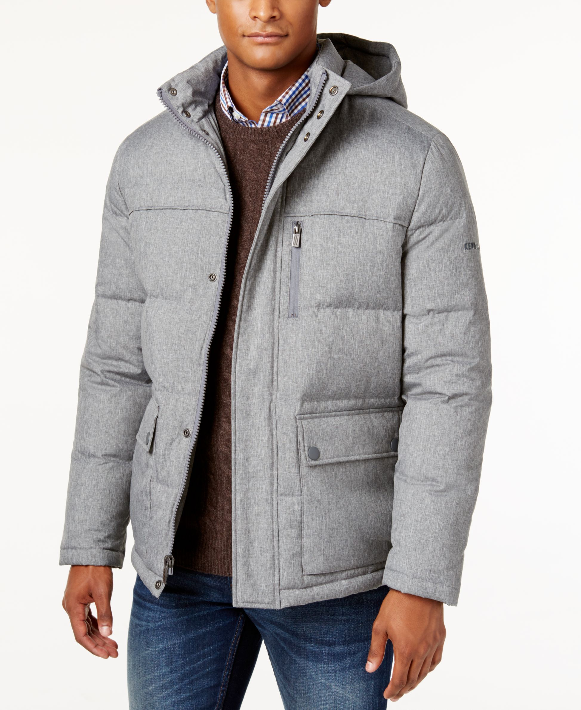 Kenneth Cole New York Herringbone Down Puffer Jacket With Removable Hood Kenneth Cole New York Mens Jackets Puffer Jackets [ 2378 x 1947 Pixel ]