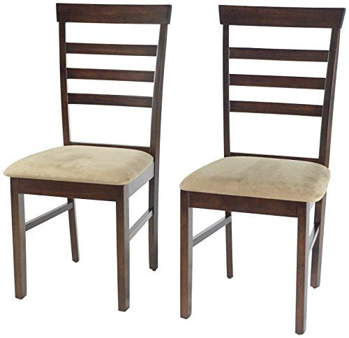 Target Marketing Systems Set Of 2 Carson Ladder Back Dining Chairs With Upholstered Seat And Tapered Legs Espresso