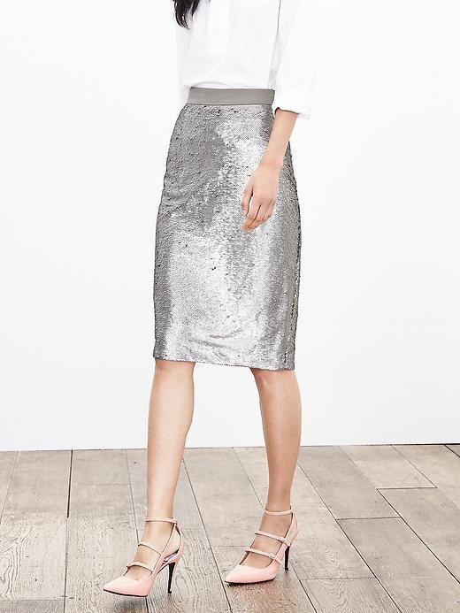 328ee284b4b3 Sequin Pencil Skirt | Banana Republic | STYLE | Silver sequin skirt ...