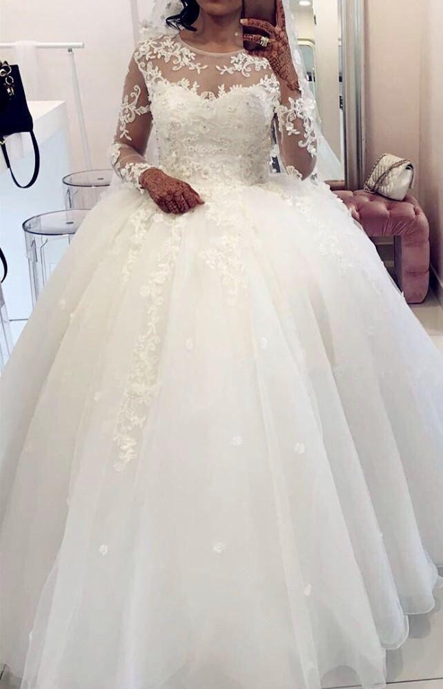 33b11692d5de Sheer long sleeves white organza ball gown wedding dresses lace ...