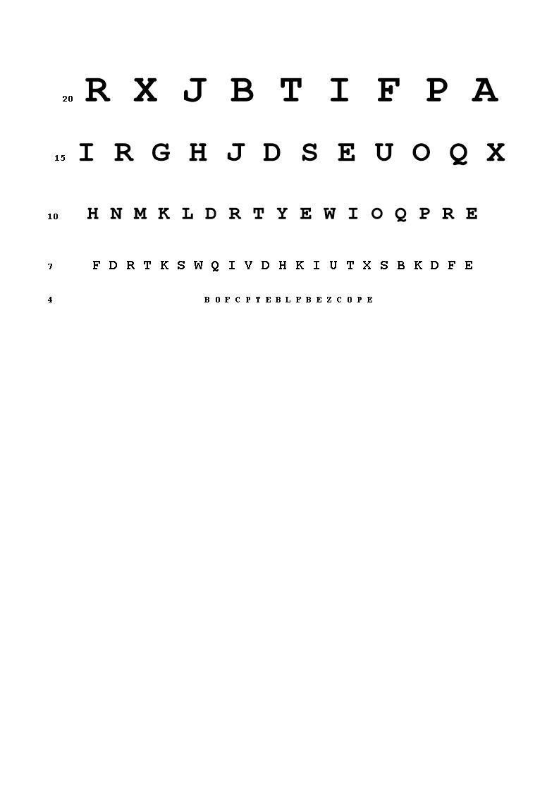 Snellen Eye Chart A  How To Use A Snellen Eye Chart Download