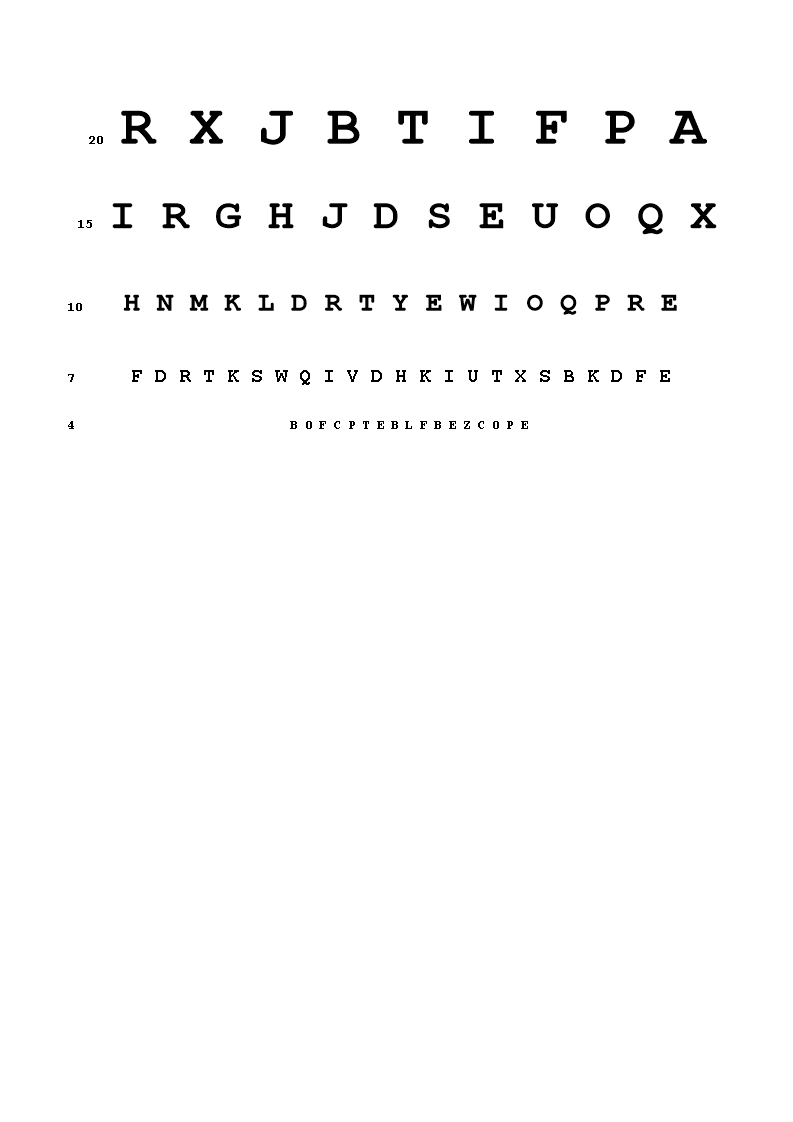 Eye Chart Template   Snellen Eye Chart A4 How To Use A Snellen Eye Chart Download This