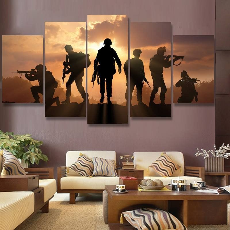 50% OFF - **MILITARY SOLDIERS SILHOUETTES 5 PANEL CANVAS WALL ART ...