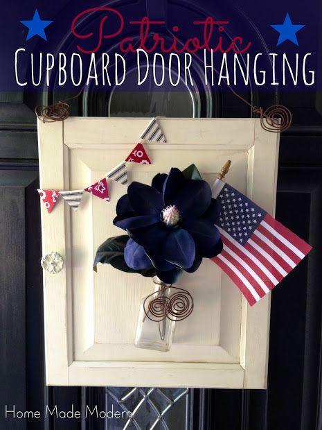 Home Made Modern: Craft of the Week: Patriotic Cupboard Door Hanging (Red White & Blue Series at Sugar Bee Crafts)