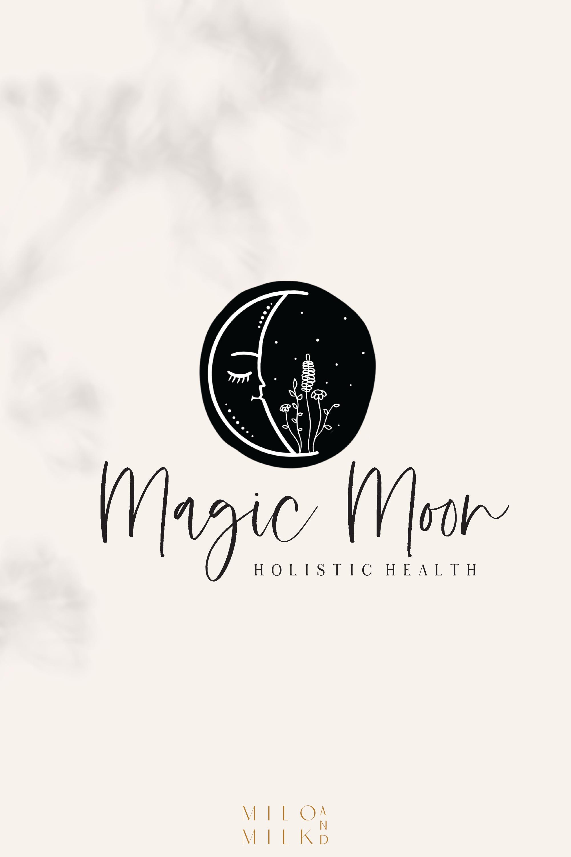 Magic Moon Botanical Logo Tarot Logo Spiritual Logo Magic Logo Holistic Logo Life Coach Branding Premade Minimal Logo Hand Drawn Logo Spiritual Logo Life Coach Logo Hand Drawn Logo