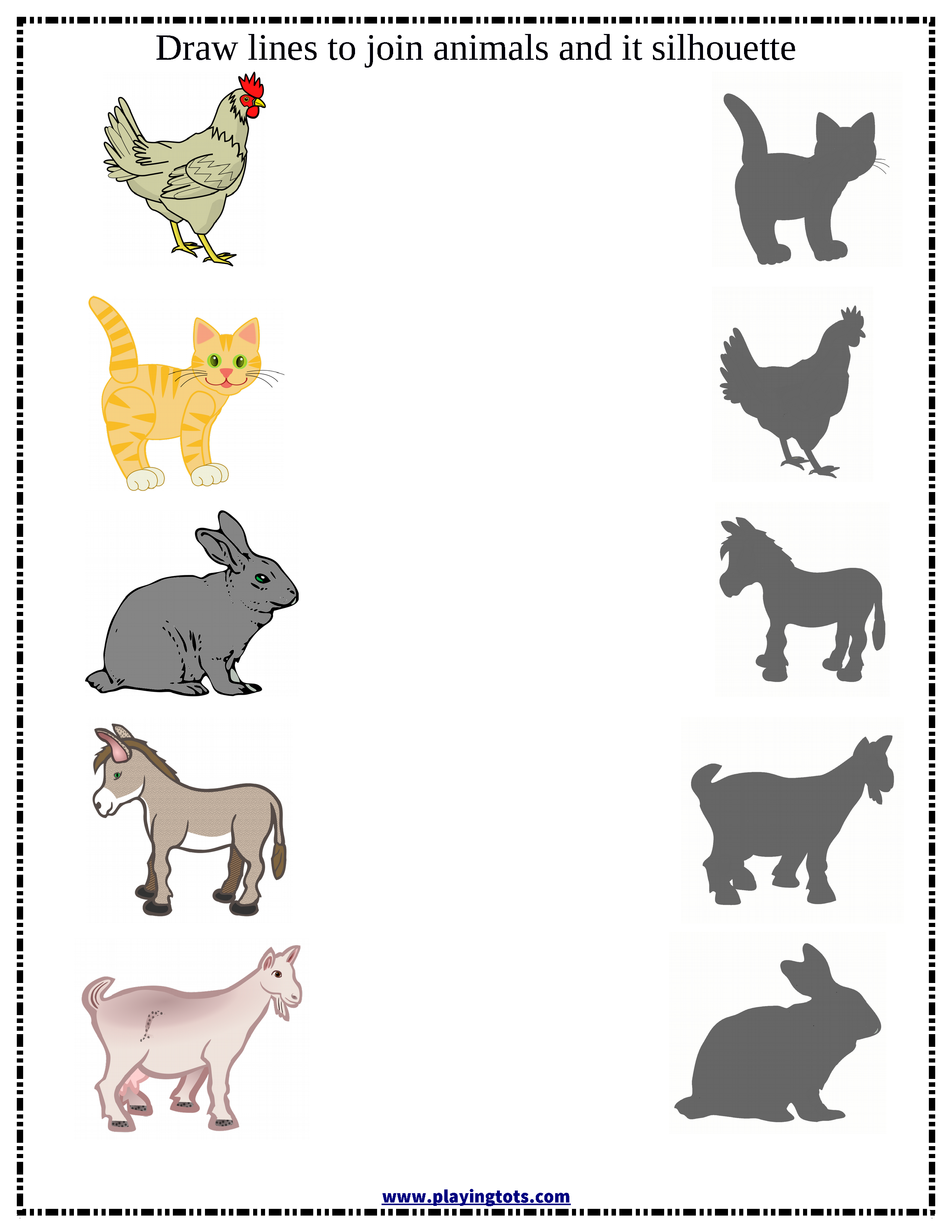 Match Animals Silhouette Worksheet Free Printable File Folder Learn Play Toddler Preschool Mom Kid Toddler Learning Activities Preschool Flashcards For Kids [ 3300 x 2550 Pixel ]