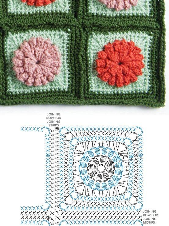 Flower Granny Square Diagram Crochet Pinterest Flower Granny