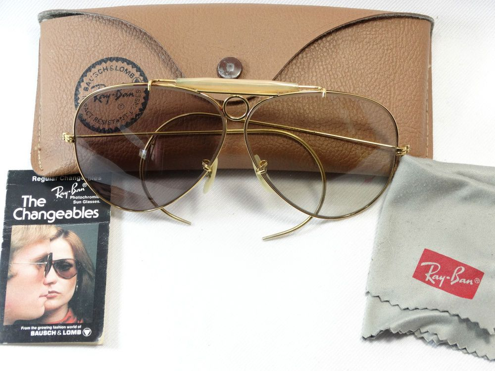 73b8147f681 300.00 Ray Ban B L Photochromic Sunglasses Shooter Aviator Bausch Lomb  Vintage USA Gold  RayBan