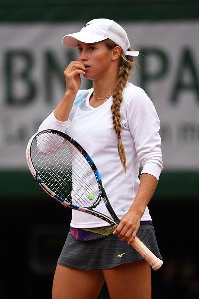 Yulia Putintseva of Kazakhstan reacts during the Ladies ...