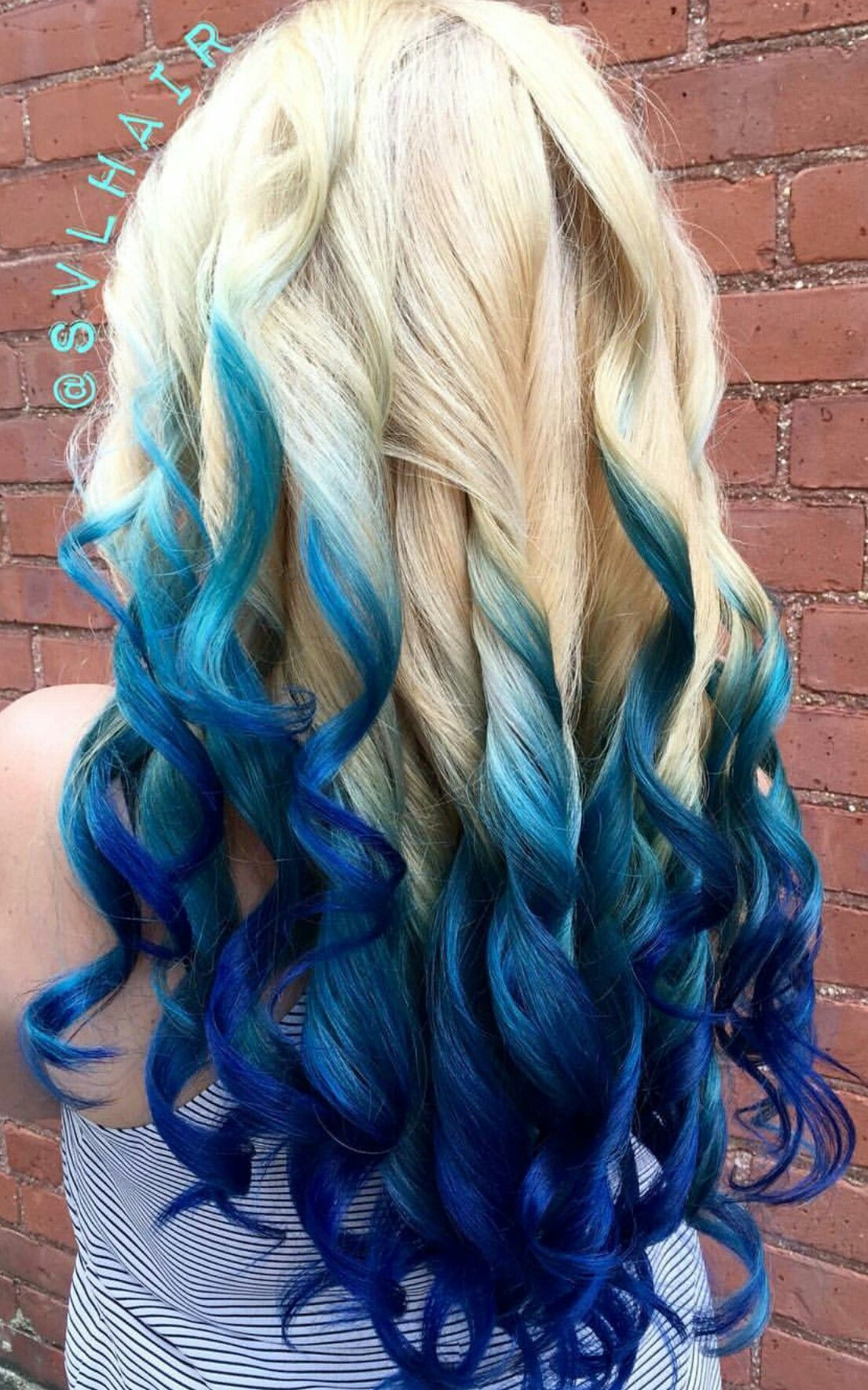 blonde royal blue ombre dyed hair