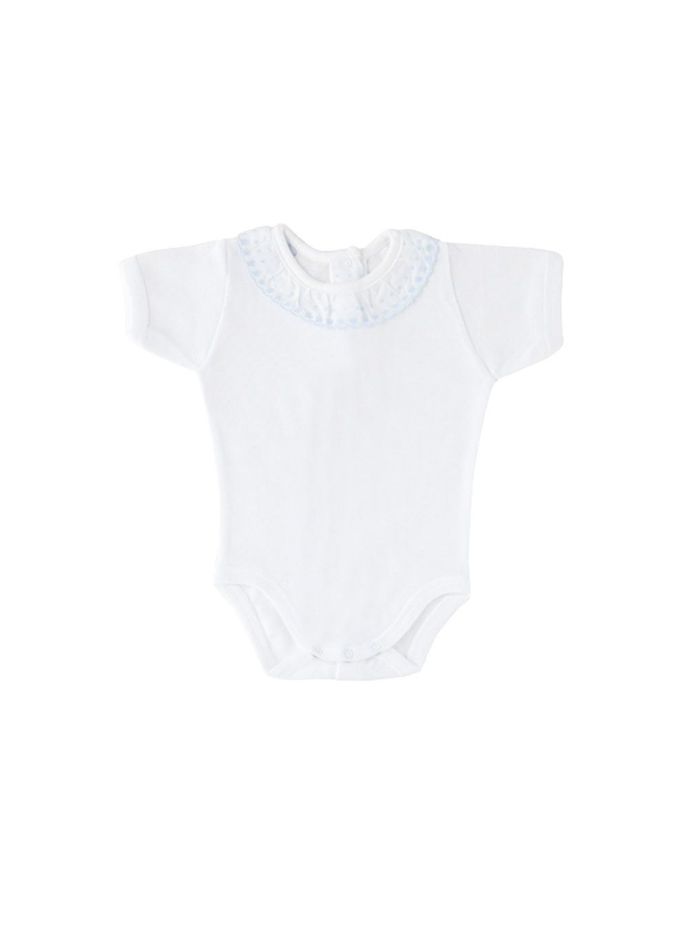 Baby Cotton Bodysuit with Blue Lace Embroidery Collar