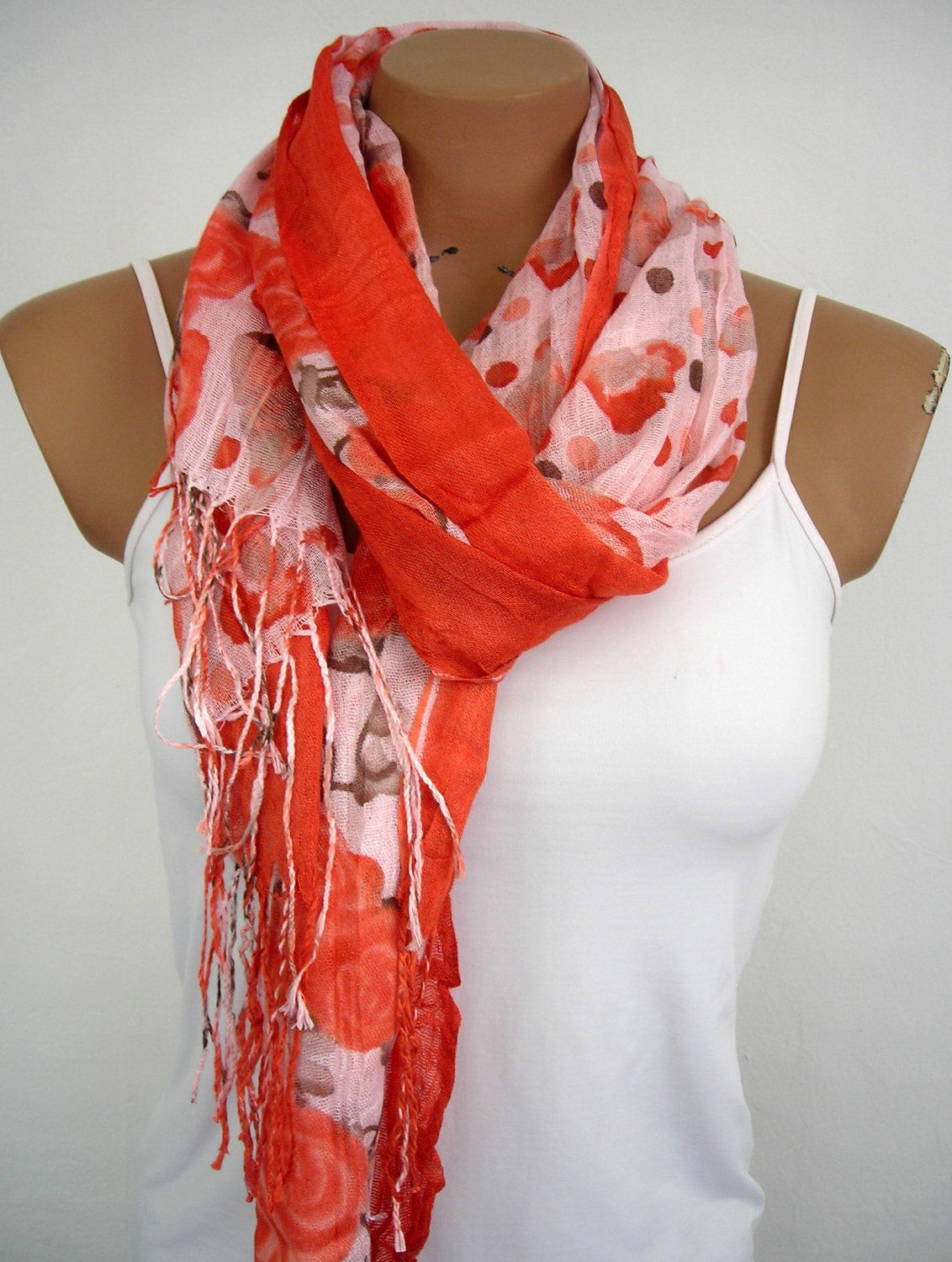 Floral Cotton Women Scarf in Coral Red Brown Autumn Fall Fashion. $15.00, via Etsy.