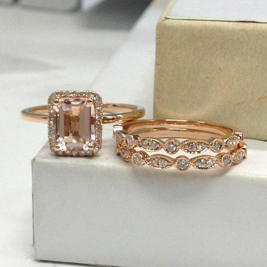 Morganite Wedding Ring Set Diamond Engagement Ring 14K Rose Gold