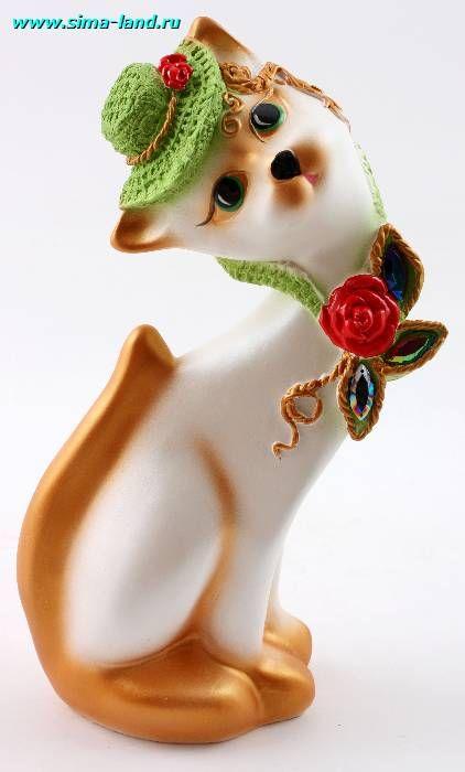 Сувенир Кошка Аленка в шляпе, белый гипс, купить оптом ...