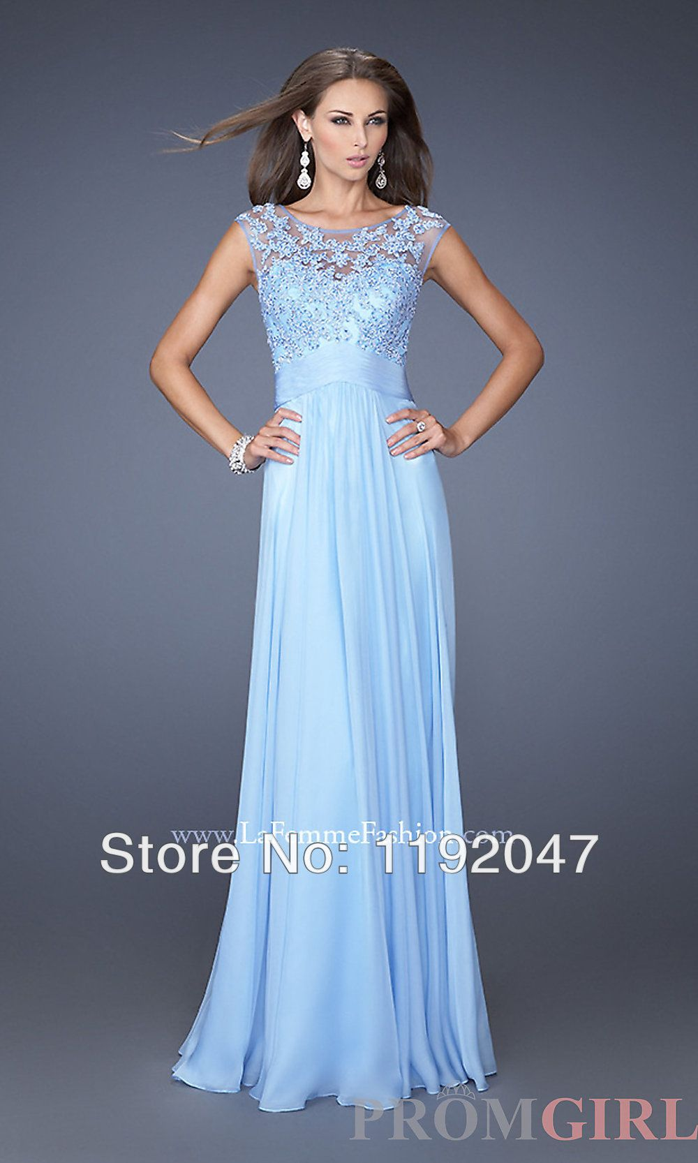 Elegant light blue color lace appliques floor length long prom