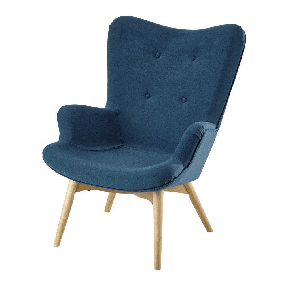 fauteuil scandinave en tissu bleu p trole fauteuil vintage tissu bleu et bleu p trole. Black Bedroom Furniture Sets. Home Design Ideas