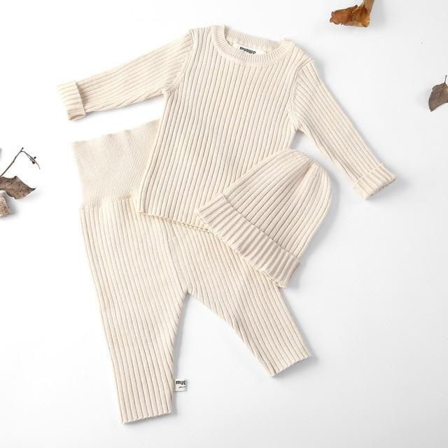 Photo of 3pcs/set Autumn Winter Baby Girl Clothes Knit Ribbed Sweater Boys Sweaters Pants…