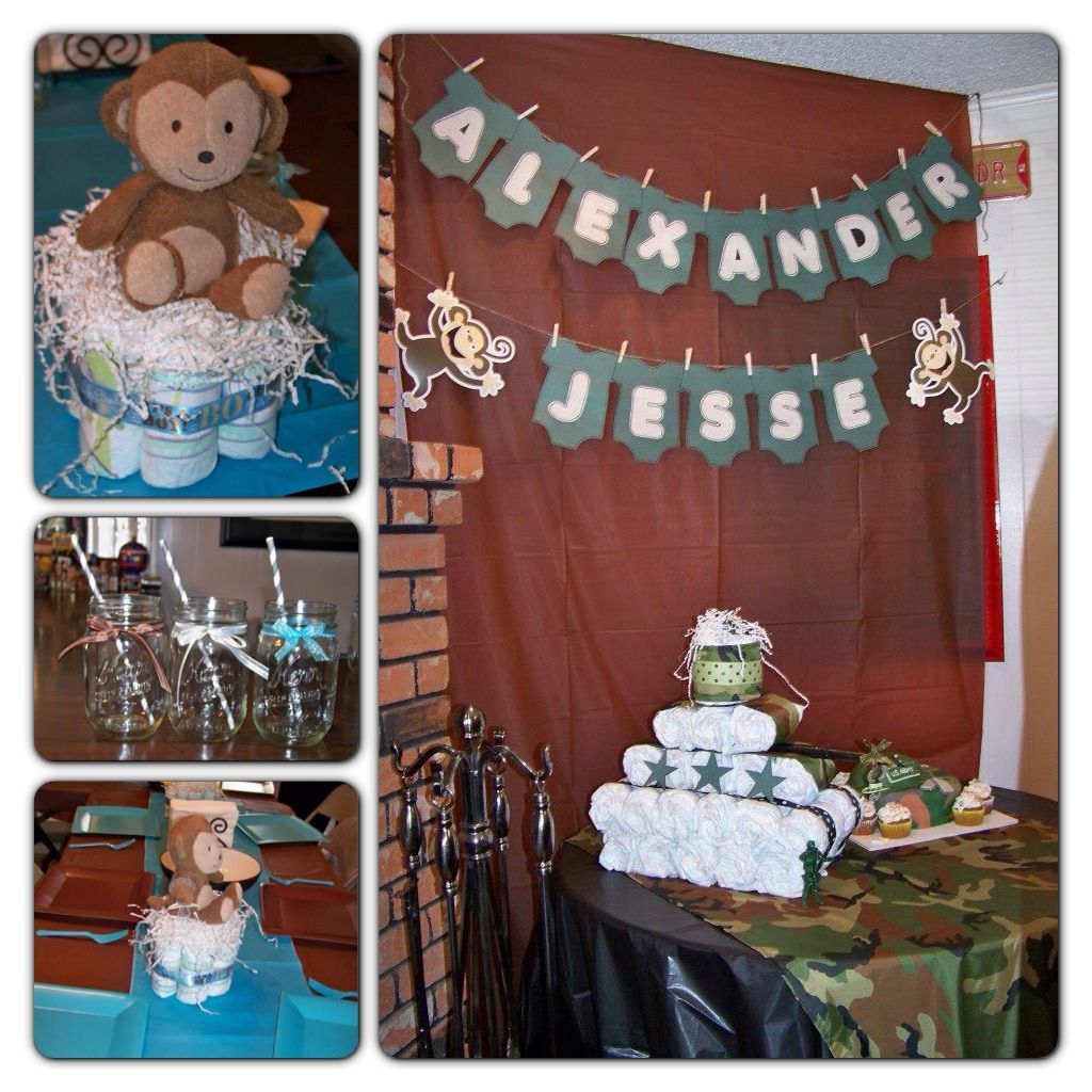 Baby Shower Army Theme Mixed With Blue And Brown Theme Party Ideas