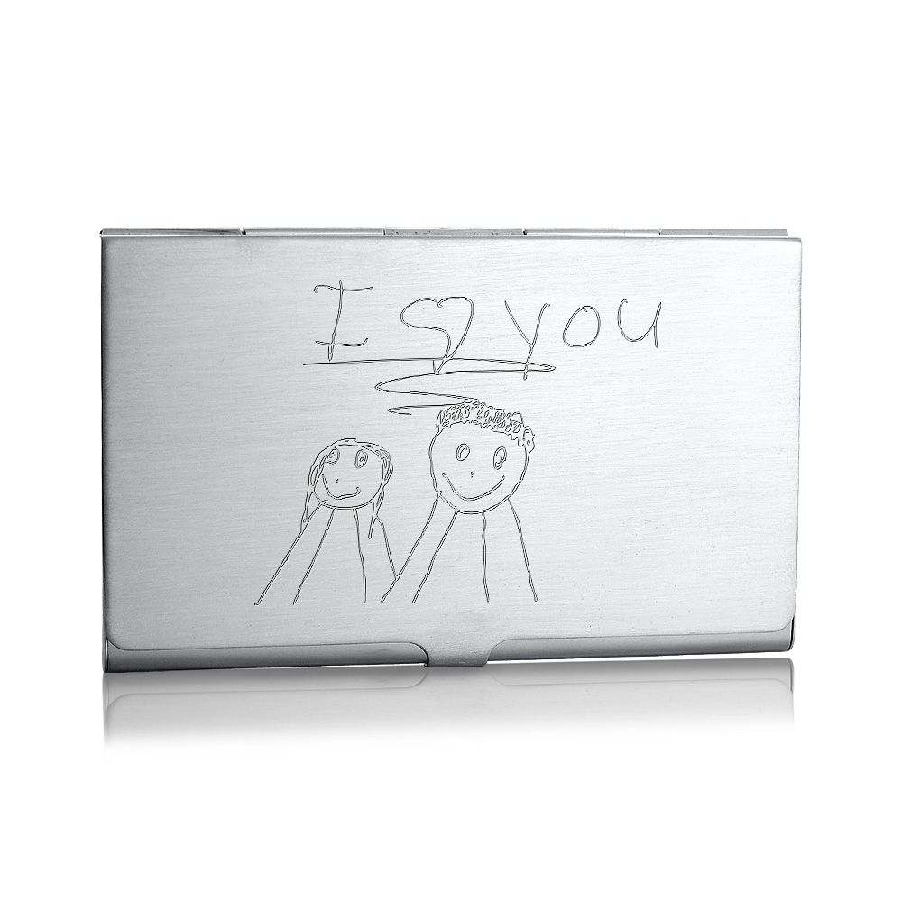 Sterling Silver Business Card Case Engraved with Childrens Art ...