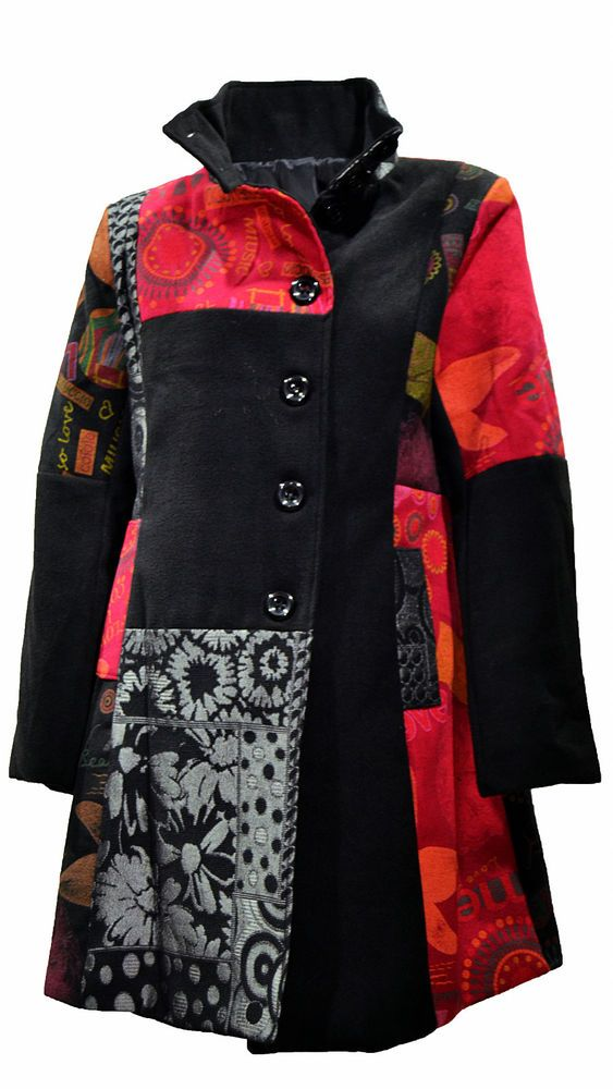Patchwork Ideen Designer Patchwork Mantel Patch Winter Trenchcoat Jacke 36