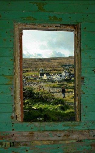 Irish countryside through a window pane