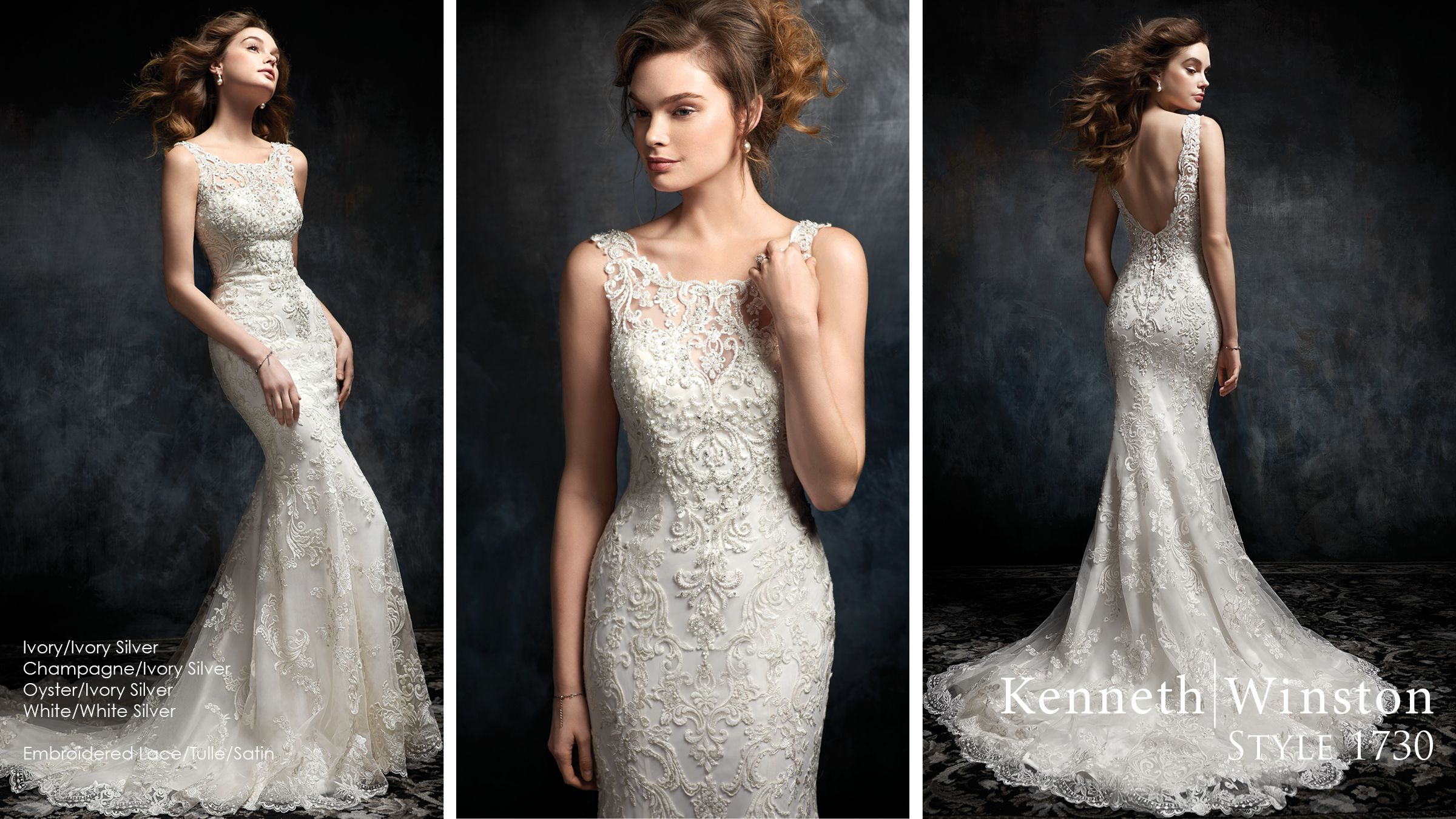 Wedding dresses mermaid style lace  Kenneth Winston Style   gorgeous wedding dress with illusion