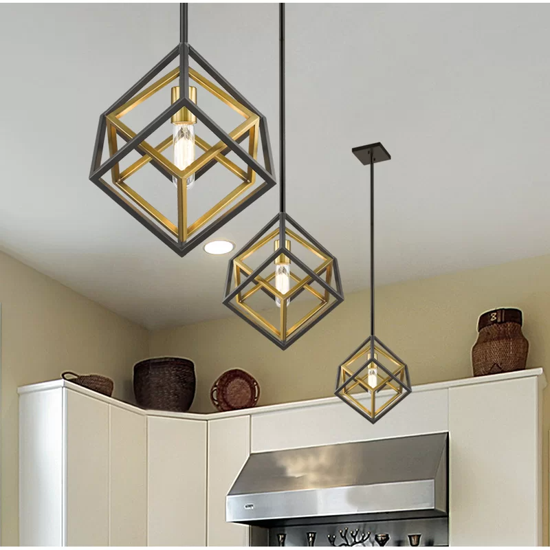 Pederson 1 Light Single Geometric Pendant In 2021 Geometric Pendant Light Geometric Chandelier Geometric Lighting