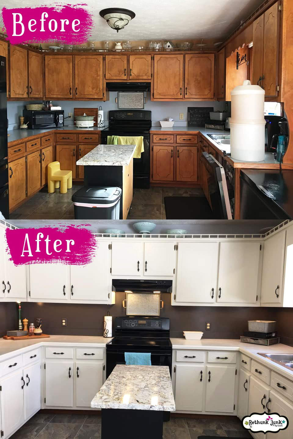 Transform Your Kitchen Cabinets The Easy Way Rethunk Junk Resin Paint Rethunk Junk Kitchen Redo Kitchen Makeover