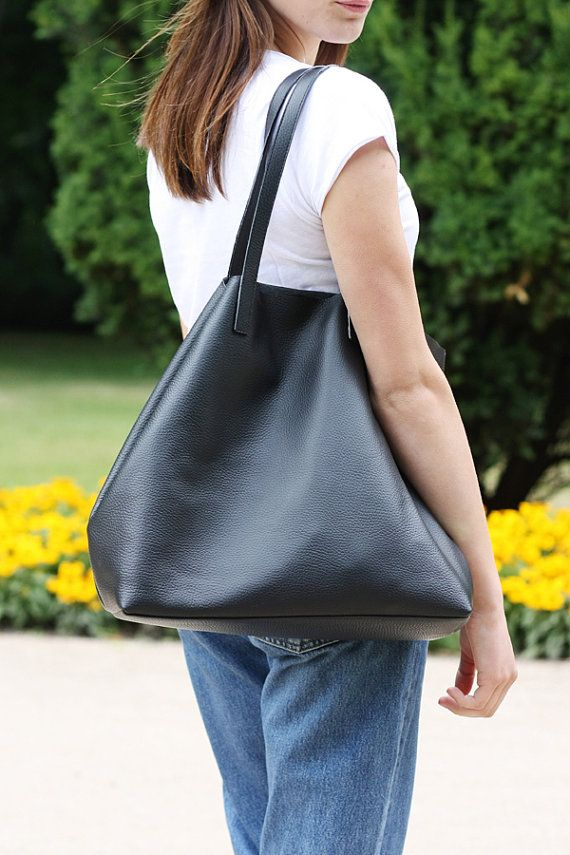 bdb1e0f2c0ab LILA Large Everyday Black Leather Tote Bag by MISHKAbags on Etsy ...