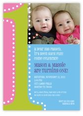 Big ONE Photo GirlBoy Twin First Birthday Invitation Custom - Birthday invitation cards twins