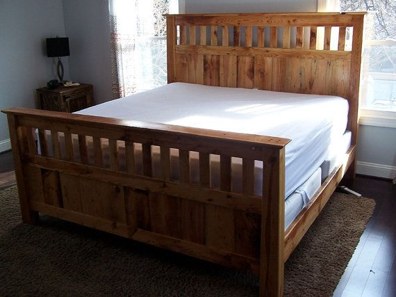 Mission Style Queen Size Bed Frame Made From by BarnWoodFurniture