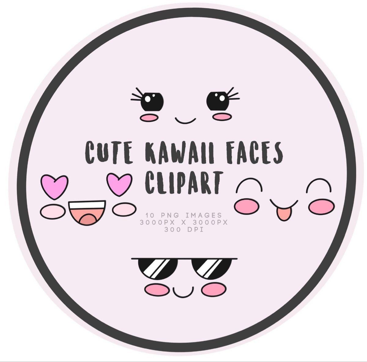 Cute Kawaii Faces Clipart
