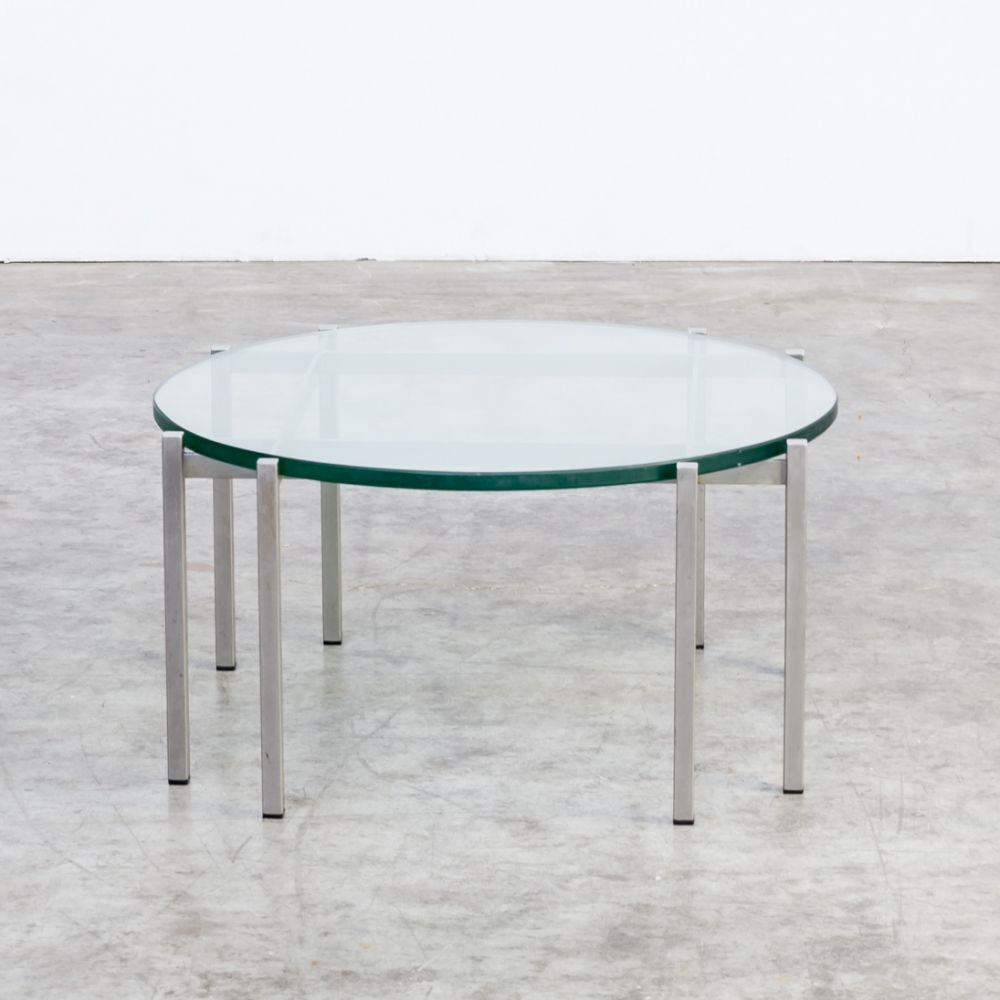 For Sale 70s Round Metal Glass Design Coffee Table