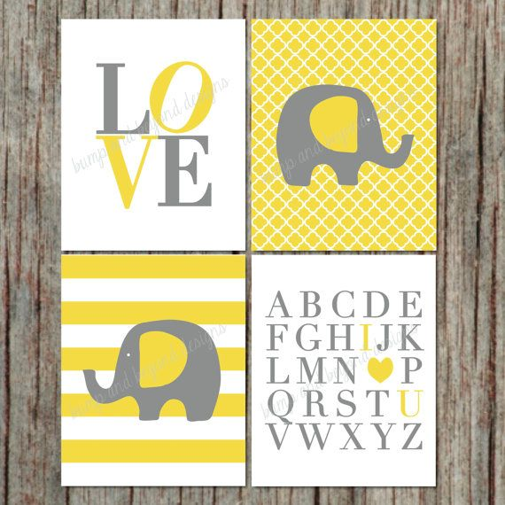 Nursery Wall Art Yellow Grey INSTANT DOWNLOAD Wall Art Room Decor ...
