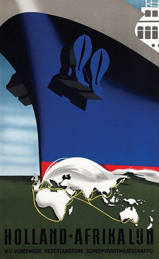 1955 by Reyn Dirksen (1924-1999) pour l'United Dutch Shipping Company