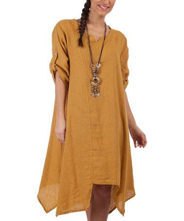 Another great find on #zulily! Mustard Linen Handkerchief Dress - Plus Too #zulilyfinds