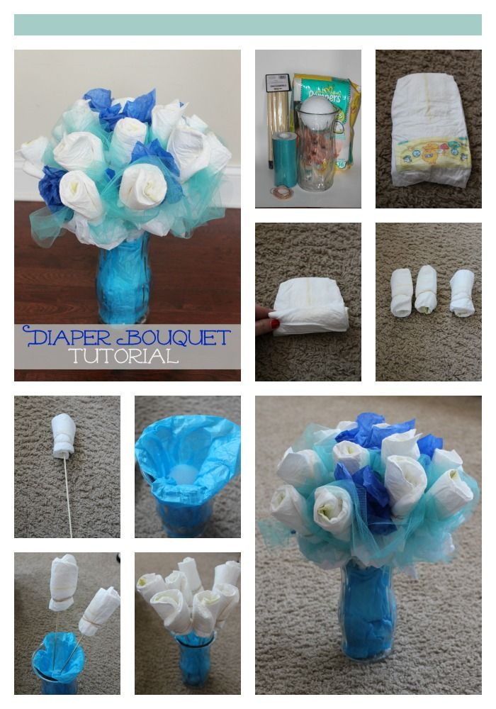 How To Make A Diaper Bouquet Picture Tutorial Baby Shower Craft