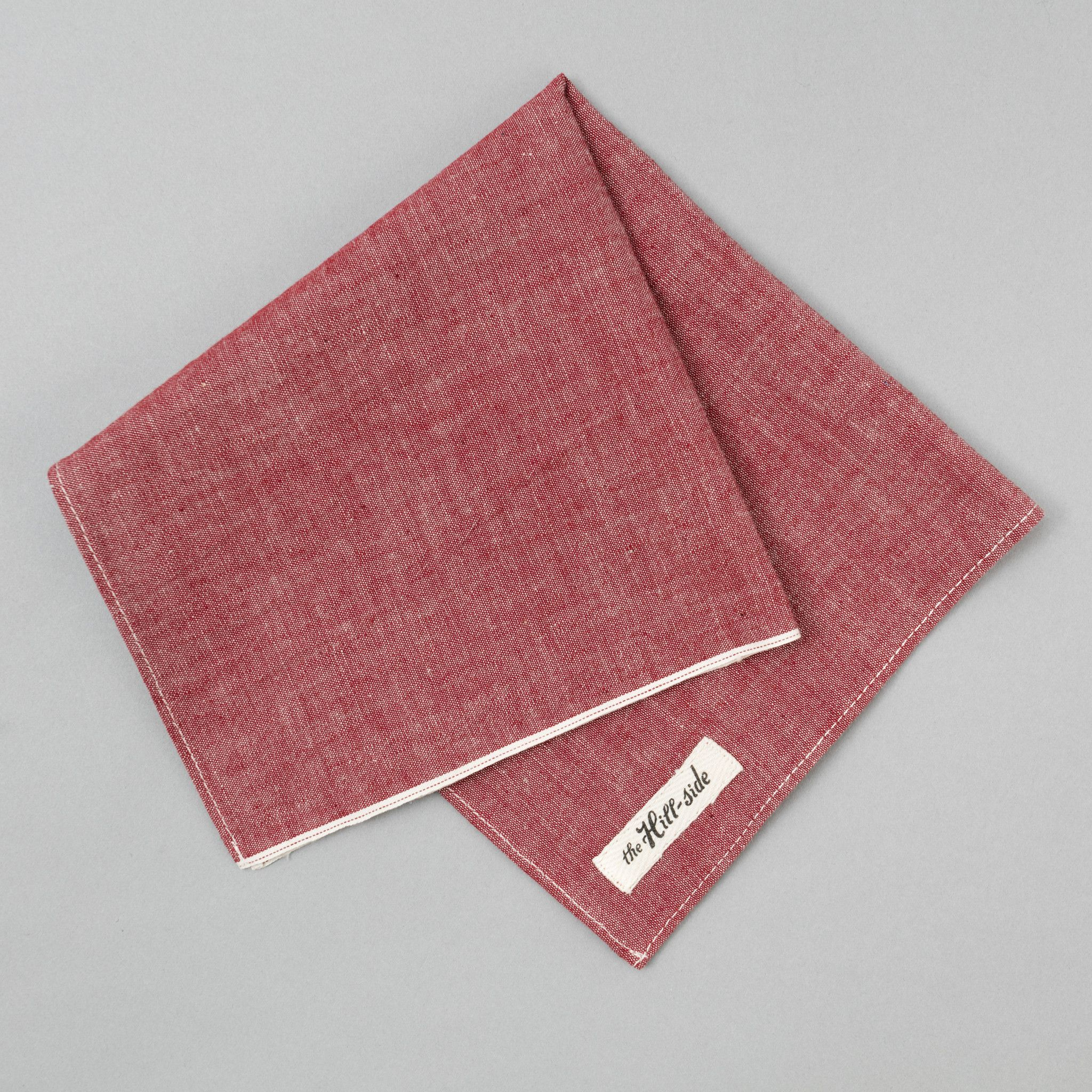 Pocket Square, Selvedge Chambray, Red
