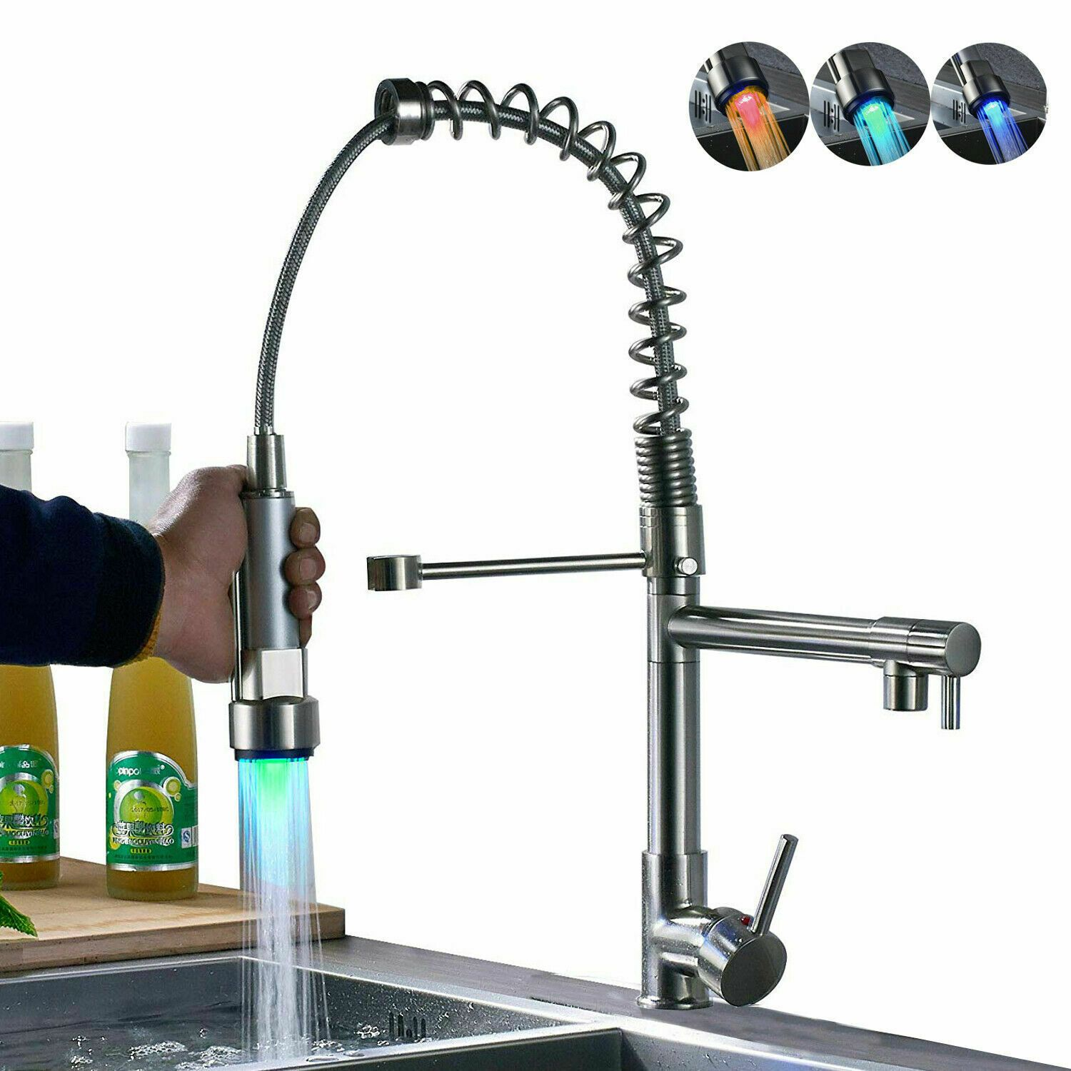 Modern One Handle Brushed Nickel Pull Out Kitchen Sink Faucets Pull Down Sprayer Kitchen Faucet Kitchen Faucets Pull Down Bronze Kitchen Faucet