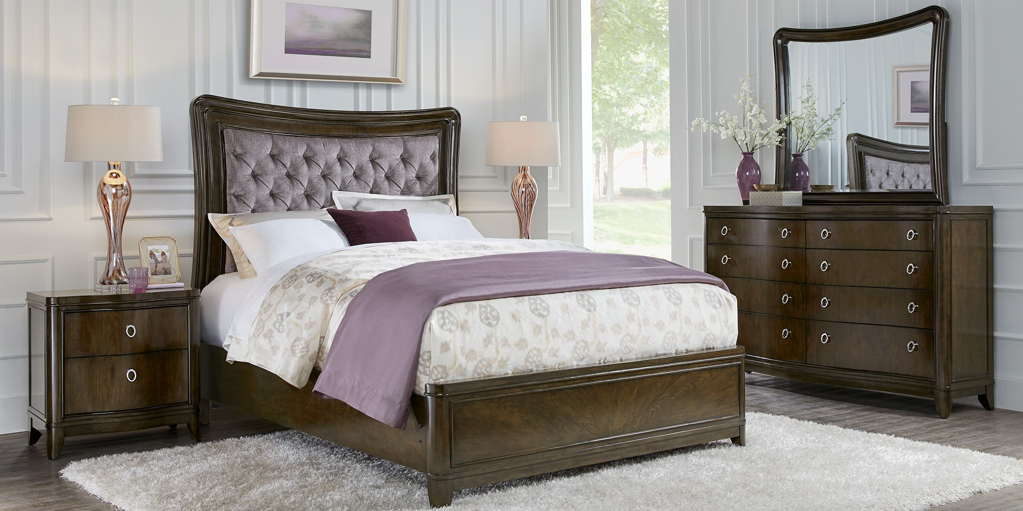 Cindy Crawford Home Chateau Brown 5 Pc King Upholstered Bedroom In