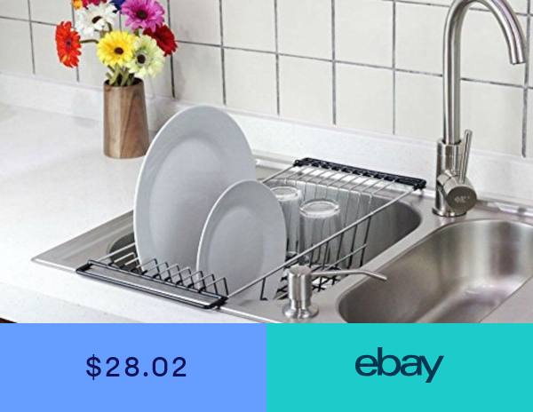 Over The Sink Dish Drainer Rack Kitchen Accessories Drying Chrome