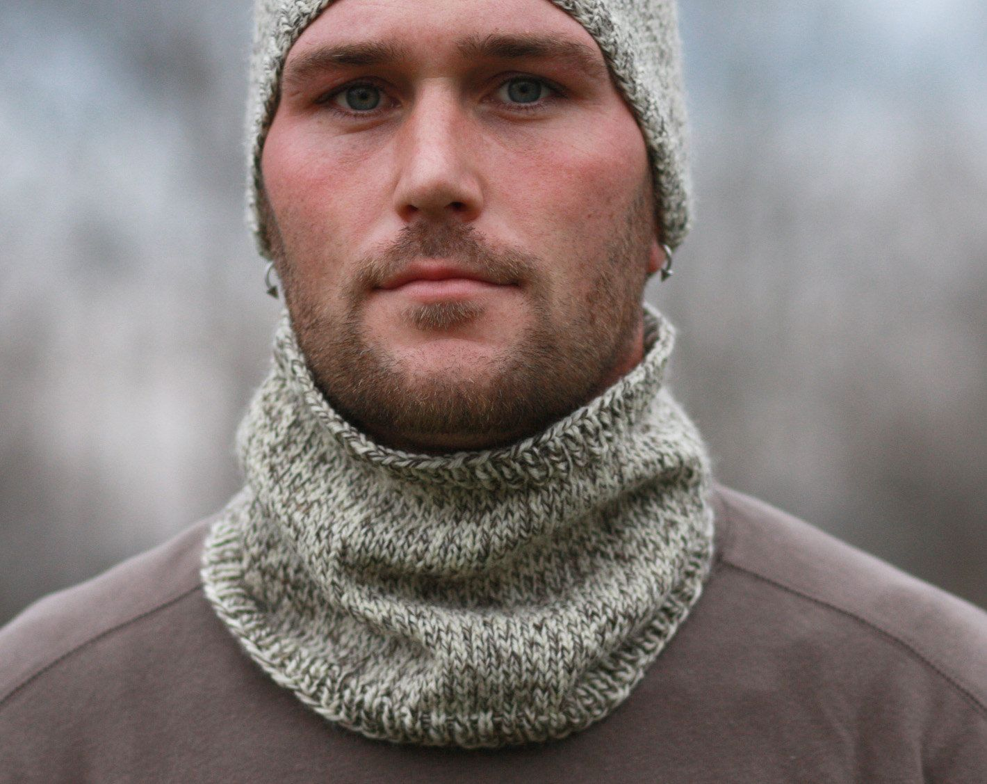 Mens Knitted Cabled Cowl & Beanie in Dark Heather Gray CUSTOM for ...