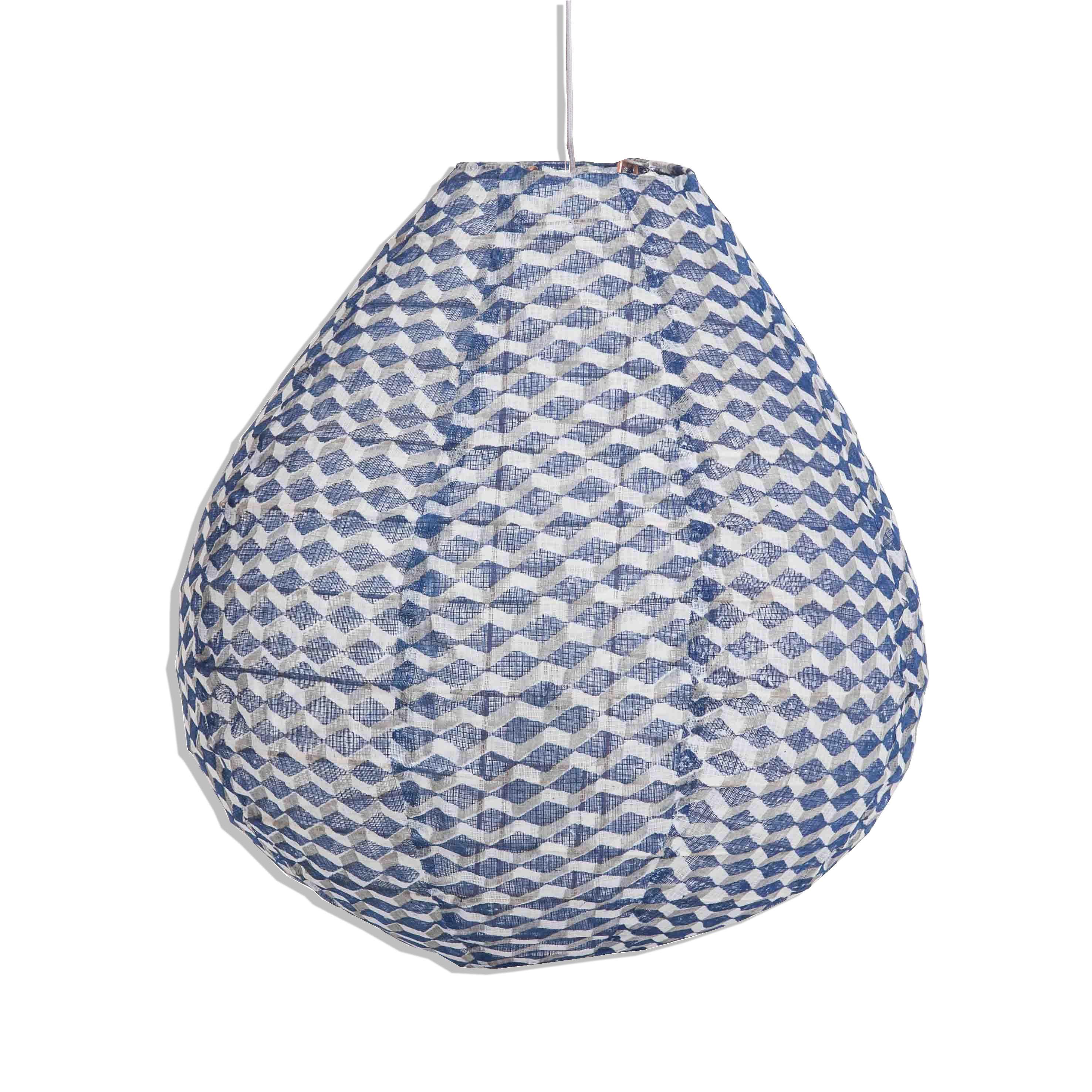 Lampe suspension tissu bleu kaki et blanc Luminaire transparent