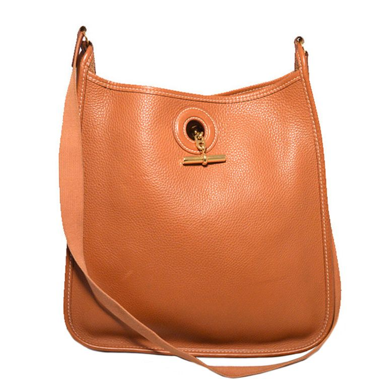 Authentic Hermes Tan Clemence Vespa Shoulder Bag   From a collection ... 45ad0395df
