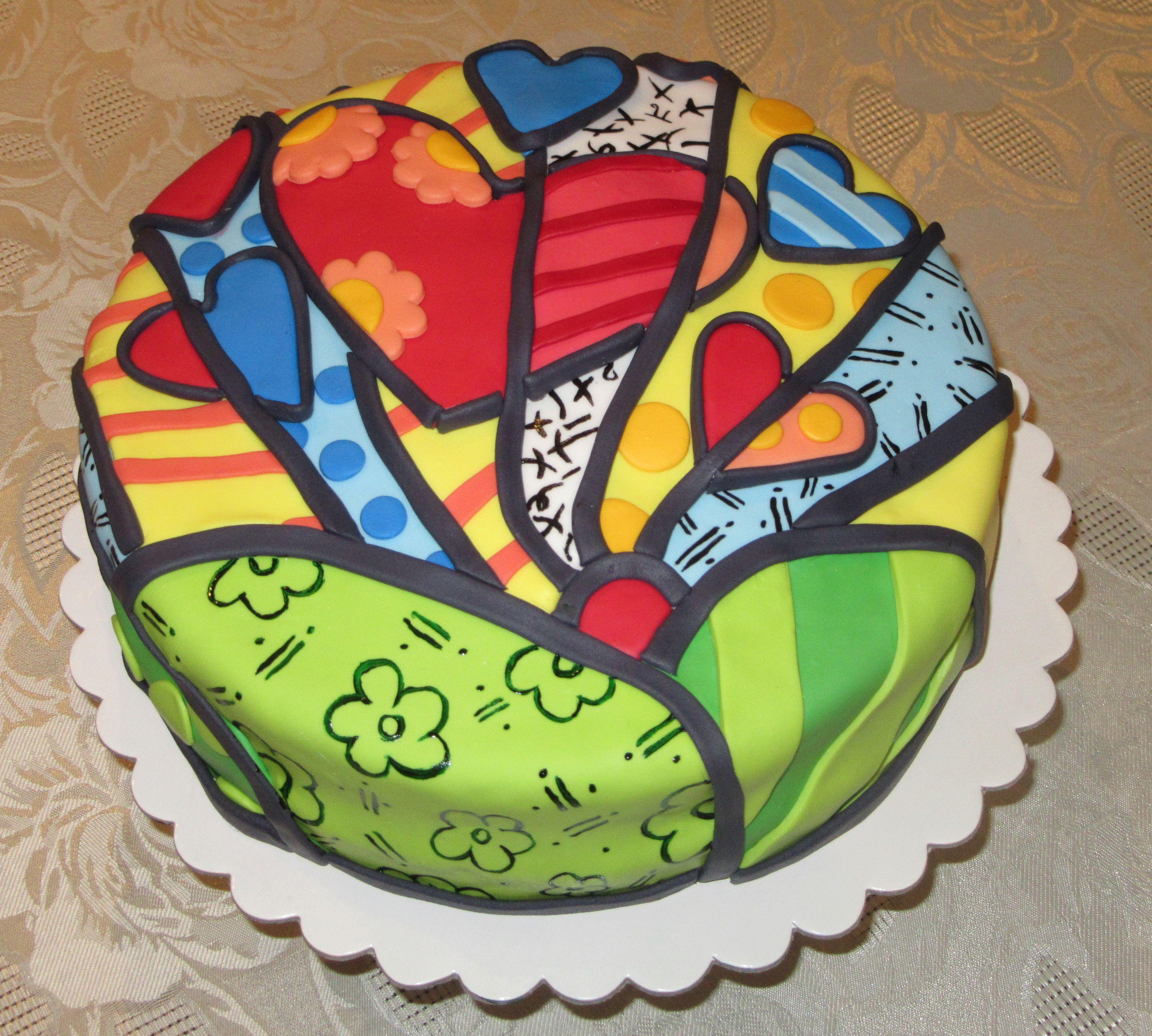 Torta Romero Britto | Fondant Britto | Pinterest | Britto, Romero ...