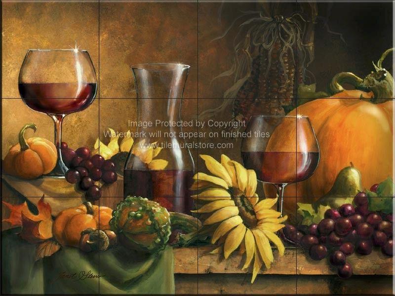 Decorative wine tileautumn bountytile mural in 2020